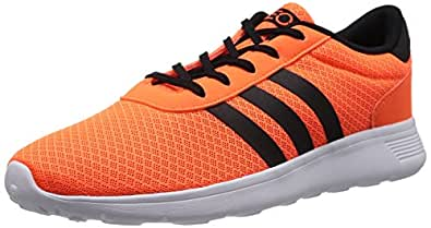 adidas neo Unisex Neo Lite Racer Solar Orange, Black and Ftwr White Mesh Running Shoes - 9 UK