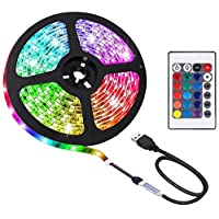 Gluckluz LED Light Strip 2m USB Decoration Lighting RGB Waterproof Lights with Remote Control for Bedroom Car Kids Indoor Outdoor Party (Color Changing)