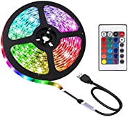 Gluckluz LED Light Strip 2m USB Decoration Lighting RGB Waterproof Lights with Remote Control for Bedroom Car