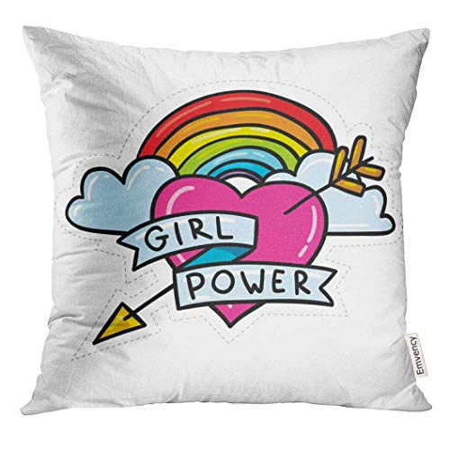 Trsdshorts Throw Pillow Cover Cute Cartoon 80S 90S Comic Style Doodle Rainbow Arrow and Heart Feminism Sign Girl Power Sticker Tattoo Decorative Pillow Case Home Decor Square 18x18 Inches Pillowcase
