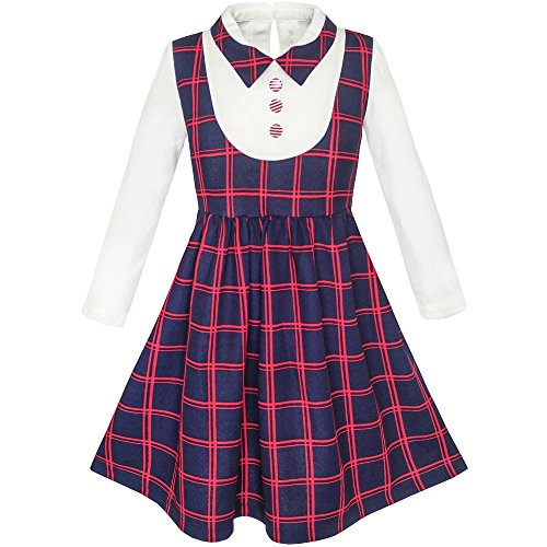 Mädchen Kleid 2-in-1 Schule Uniform Geprüft Plaid Straps Rock Gr. 134 (Plaid-kleid Schule)