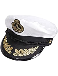 Casquette capitaine marin pour adulte (KH-177) blanc, visière noir avec touches de doré