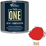 One Paint, un cappotto, multi superficie vernice per legno, metallo, plastica, interno, esterno, rosso, lucido, 1litri