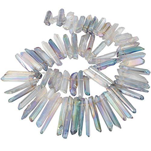 KYEYGWO Titanium Beschichtet Kristall Punkt Perlen Grobe Stein Sticks Spikes Natürliche Quarz Gebohrt 15 Zoll Strang Lose Perlen für Schmuck Machen - Kristall Perlen