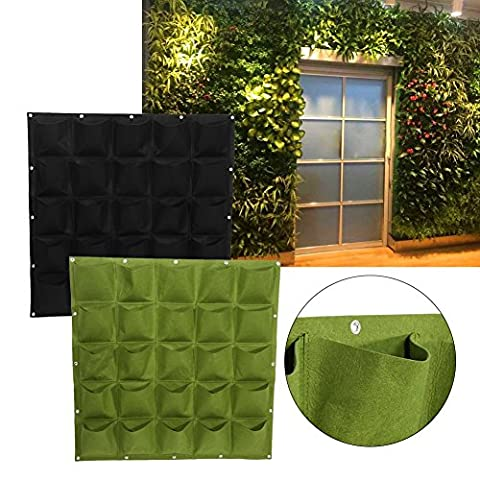 25 Pockets Planting Bags Wall Hanging Gardening Planter Outdoor Indoor Vertical Greening Grow Bags Flower Growing Container ( Color : Black