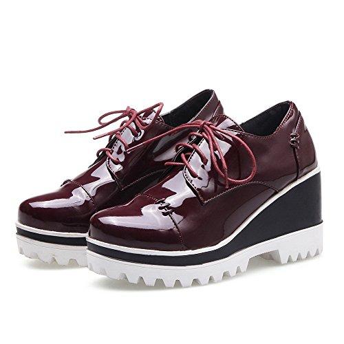 AllhqFashion Femme à Talon Haut Verni Couleur Unie Lacet Rond Chaussures Légeres Rouge Vineux