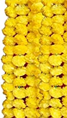 Creatively Natural's - Artificial Marigold Fluffy Flowers Garlands for Decoration - Pack of 5 (Yellow)