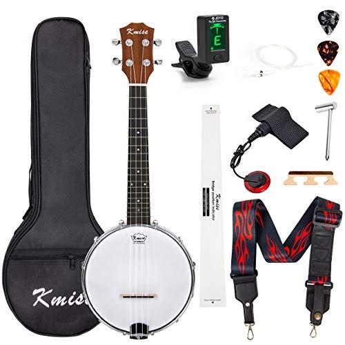 Kmise Banjo Ukulele 4 Saiten Konzert-Banjos Klassischer Stil Professionelles Musikinstrument mit Tasche, Tuner Gurt, Saiten, Pickup-Tonabnehmer, Lineal und Steg