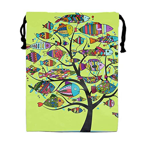 th Turnbeutel Art Fish Tree Sketch Pouches Sacks Bag for Wedding Favors, Party, DIY Craft ()