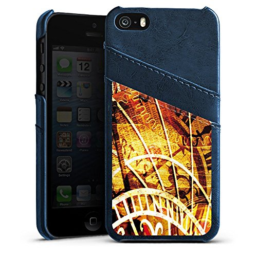 Apple iPhone 4 Housse Étui Silicone Coque Protection Montre Temps Vintage Rétro Collection Étui en cuir bleu marine
