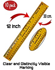 Ganpati Enterprises Measuring Wooden Ruler -12-inch/30 cm (Pack of 10)