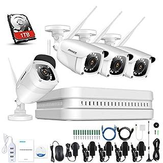ANNKE WiFi Überwachungskamera-Set 8CH 1080P Wireless NVR System mit 4PCS 1080P WLAN Außen Kamera und 1TB Festplatte eingebaut für Innen und Außen, Onlinezugriff, Bewegungserkennung mit E-Mail-Alarm