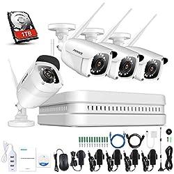 ANNKE Kit Telecamera Videosorveglianza Wi-Fi Wireless 8CH 1080P FHD Sistema di Sorveglianza Plug and Play H.264+ Sistema di Sicurezza Videocamere IP Bullet Visione Notturna Accesso Remoto 1TB HDD