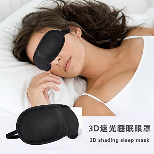 embiofuels (TM) 3D Schlafmaske Augenklappe schwarz Sleeping Damen und Herren Schwamm, Reise Sleep Aid