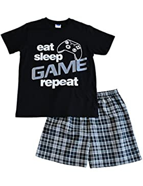 ThePyjamaFactory - Pijama corto para niños, con texto en inglés «Eat, sleep, game, repeat», de 9 a 13 años, color...