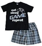 ThePyjamaFactory - Pijama corto para niños, con texto en inglés «Eat, sleep, game, repeat», de 9 a 13 años, color negro Negro negro 13 años