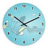 Wanduhr mit schönem Drachen-Motiv für Jungen | Kinderzimmer-Uhr | Kinder-Uhr