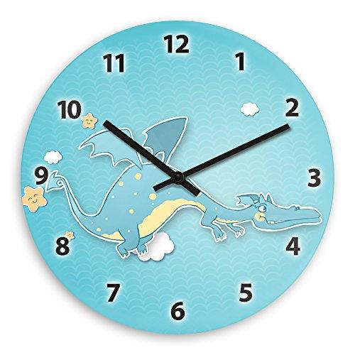 Wanduhr mit Drachen-Motiv für Jungen | Kinderzimmer-Uhr | Kinder-Uhr