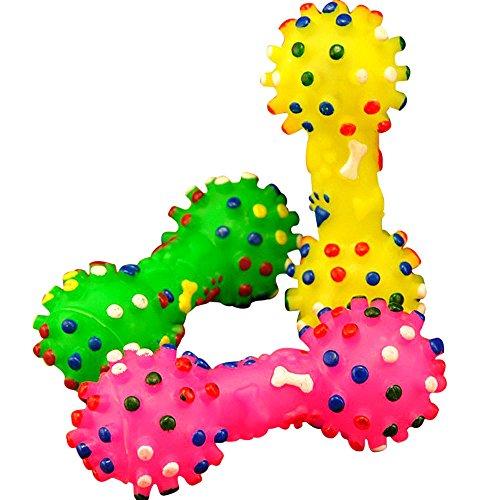Faux Knochen Hunde Spielzeug,Fun Hundespielzeug Kauspielzeug Spielzeug,Welpen Kauen Spielzeug,Gummi Hund Knochen für Trainings,Dotted Hantel Form Squeeze Quietschend Spielzeug,1 Stück (Wie zufällig) -
