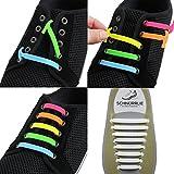 SCHNÜRRLIE Silikon Schnürsenkel - Das innovative Schnürsystem - einfach Sneaker Turnschuhe binden ohne Streß (16 Stück Weiß)
