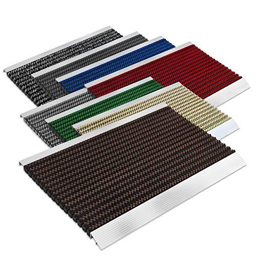 Floordirekt PRO Repräsentative Fußmatte Profi Brush - Testurteil Sehr Gut - Schmutzfangmatte mit Alu Rahmen für außen und innen - Verschiedene Bürsten Farben und Größen (40x60cm Braun)