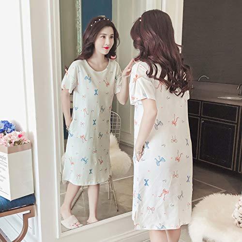Lace Trim Korsett Bögen (Underwear hall Pyjamas Damen Sommer Kurzarm Baumwolle Lose Große Größe Koreanische Frische Student Nachthemd Frau Sommer Sexy Tragbar Herbst, 170 (XL), WL8006 Bogen Kurzarm Rock)