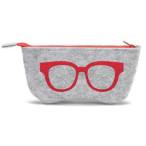JUTTA Brillenetui für Damen und Herren Brillenbox Etui in Rot für Brillen und Sonnenbrillen - Box Modell: Hardcase-Filz in Groß