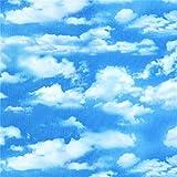 Blauer Stoff mit weißen Wolken von Elizabeth's Studio