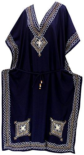 La Leela Frauen Wear Farbstoff Ärmel Rayon Lounge Verschleiß Kaftan blau und decken binden (Plain Farbstoff)