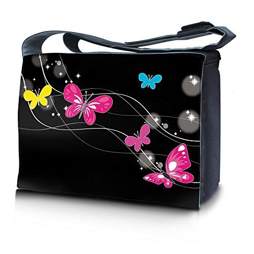 Luxburg® design sac en bandoulière sacoche sac collège daily bag 17,3 pouces, motif: Papillons et étoiles