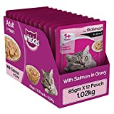 Whiskas Adult (+1 year) Wet Cat Food Food, Salmon in Gravy, 12 Pouches