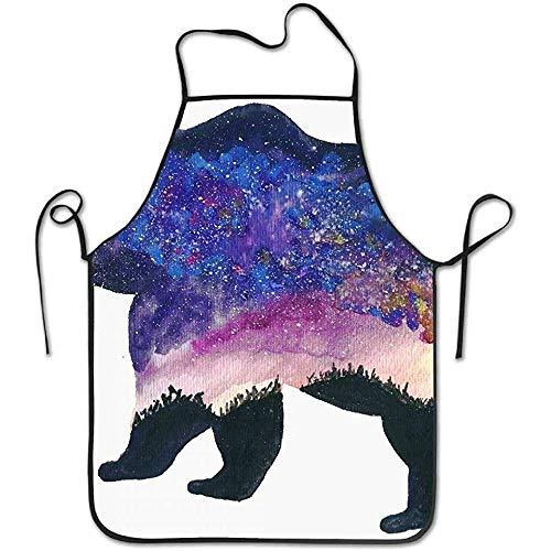 Bear Deluxe Kostüm - ouyjian Kitchen Apron Grizzly Bear Deluxe Cute Aprons Chef Kitchen Cooking and Men & Women Baking Bib BBQ Apron