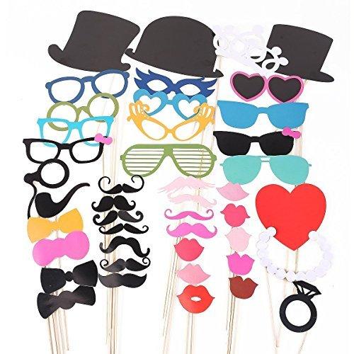JZK® 44 tlg Foto requisiten verkleidung accessoires masken schnurrbart lippen brille krawatte tabakspfeife hüte bärte photobooth photo booth props zubehör set kit für neujahr hochzeit geburtstag party abschlussfeier etc. (versand ort Deutschland)
