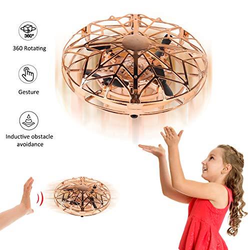 YORKOO Spielzeuge zum 4-10 Jahre alt Jungs Mini-Drohnen für Kinder Fliegender Ball Air Magic Hogs Handgesteuert UFO RC Spiele mit LED Beleuchtung Cool Spielzeuge Golden