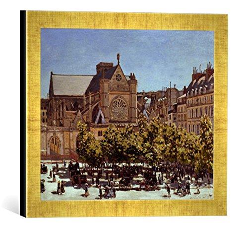 """Gerahmtes Bild von Claude Monet """"St.Germain l'Auxerrois"""", Kunstdruck im hochwertigen handgefertigten Bilder-Rahmen, 40x30 cm, Gold raya"""