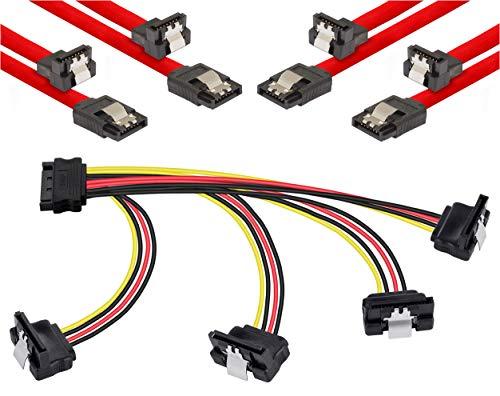 Poppstar S-ATA Kabel Set (Stecker gerade-90° gewinkelt), 4X 0,5m Sata 3 Datenkabel, rot + 20cm 4-Fach Y-Stromkabel Adapter, für HDD, SSD, Festplatte, Mainboard, PC Case Modding 120 Gb-dvd-cd