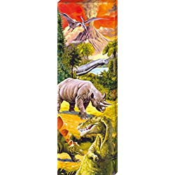 Dinosaurios - Collage, Mundo Dino Cuadro, Lienzo Montado Sobre Bastidor (150 x 50cm)