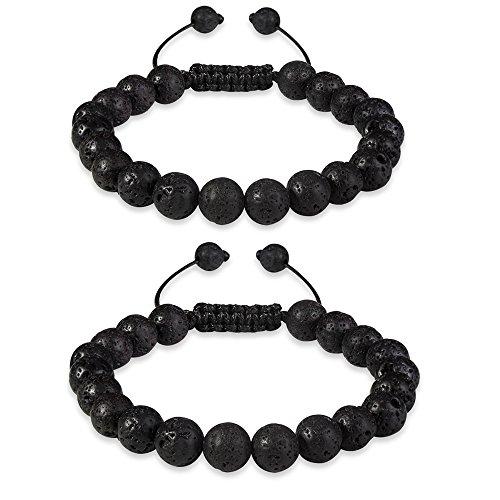 CheersLife Armbänder mit Lavastein-Perlen, Naturstein, 8 mm, für ätherische Öle, heilende Energieperlen, größenverstellbar, 2 Stück