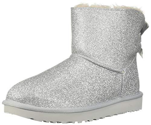 UGG Damenschuhe Booties Mini Bailey Bow Sparkle Silver, Größe:42 EU (Stiefel Ugg Silber)