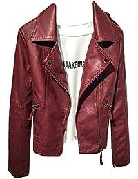 Las mujeres Blazer Outwear Softshell PU Cuero Moto Cazadoras Corta Chaqueta con cremallera de manga larga L Wine rojo