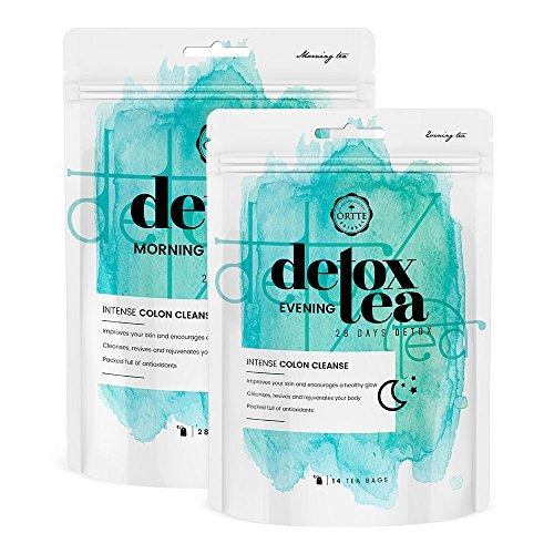 Örtte Detox Tee – 28 Tage Entschlackungskur Zum Abnehmen Und Entgiften – Effektive Entgiftungskur Aus Morgen- Und Abendtee – Natürlicher Abnehmtee Für Männer Und Frauen |