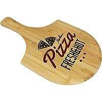 COM-FOUR® Pizzabrett aus Bambus Holz, 53 x 31 x 1 cm, Bambus Servierplatte mit dekorativem Schriftzug (01 Stück - Bambus)