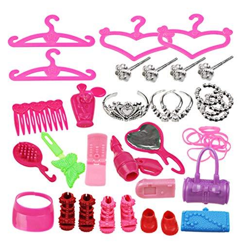 Newin Star 42- Teiliges Mode Puppen Zubehör Set von Schmuck Haarband Ohrringe Tasche Schuhe und Kleiderbügel -