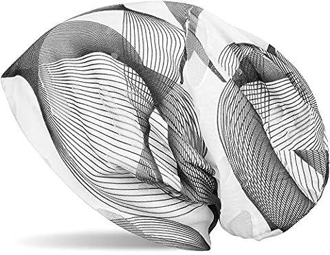 styleBREAKER Bonnet beanie avec motif guillochis asymétrique au look vintage destroy, unisexe 04024073, couleur:Noir-blanc