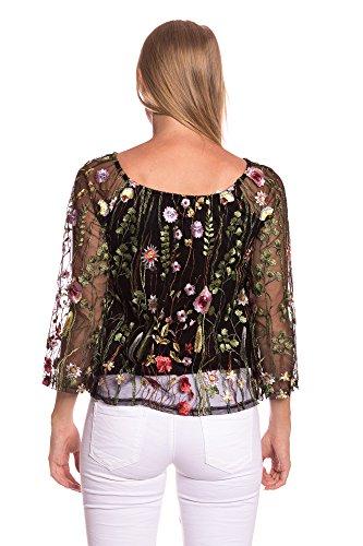 abbino 8344 durchsichtige bluse mit blumenstickerei damen. Black Bedroom Furniture Sets. Home Design Ideas