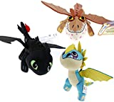 Liyi 3pc Compatible Toys from How to Train Your Dragon 2 Toothless Stormfly Plush Soft Toy Kids Xmas Gift