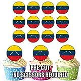 Essbare Cupcake-Dekoration, Motiv: Venezuela-Flagge, 24 Stück