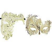 Set di 2coppie veneziano maschera mezza Maschere costumi Partito accessori GOLD-2
