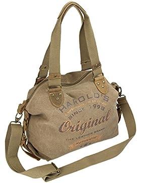 Luxus HAROLD'S Vintage Handtasche Schultertasche Damen Umhängetasche Retro-Look aus Segeltuch / Canvas mit hochwertigem...