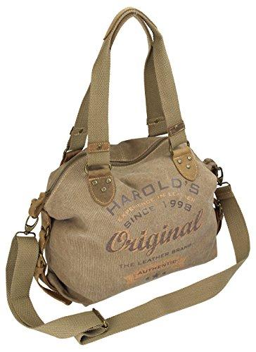 HAROLD\'S Damen Handtasche im Vintage-Look aus Canvas mit hochwertigem Echt-Lederbesatz und Retro Print (4536)